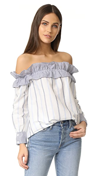 ENGLISH FACTORY Stripe Long Sleeve Off Shoulder Top