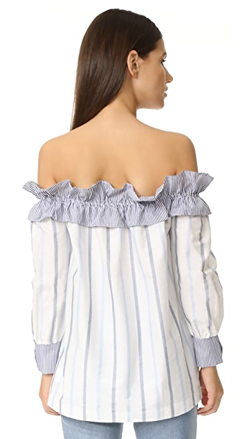 ENGLISH FACTORY Stripe Long Sleeve Off Shoulder Top