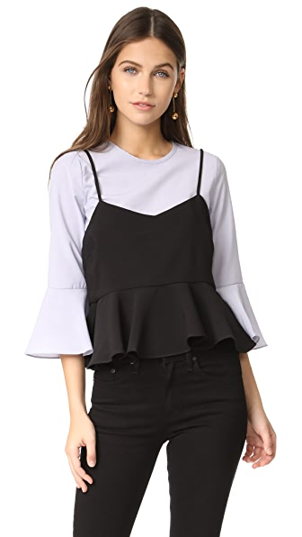 ENGLISH FACTORY Bell Sleeve Cami Top - Powder Blue/Black