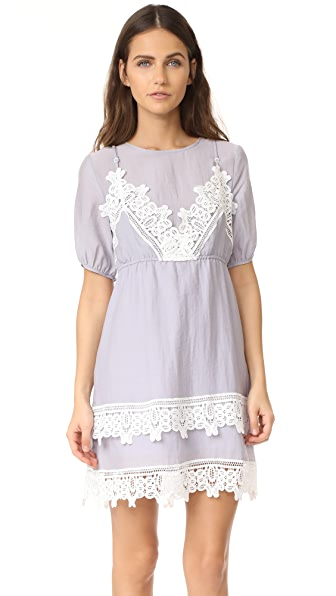 ENGLISH FACTORY Short Sleeve Embroidered Dress - Grey
