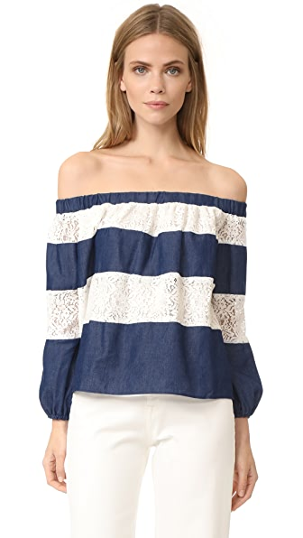 ENGLISH FACTORY Off Shoulder Color Block Top