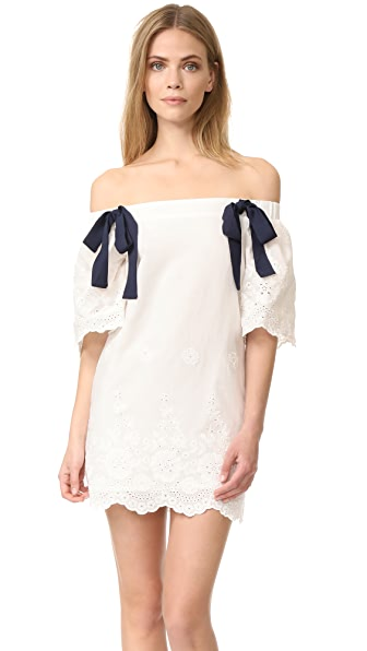 ENGLISH FACTORY Off Shoulder Dress with Tie Detail at Shopbop