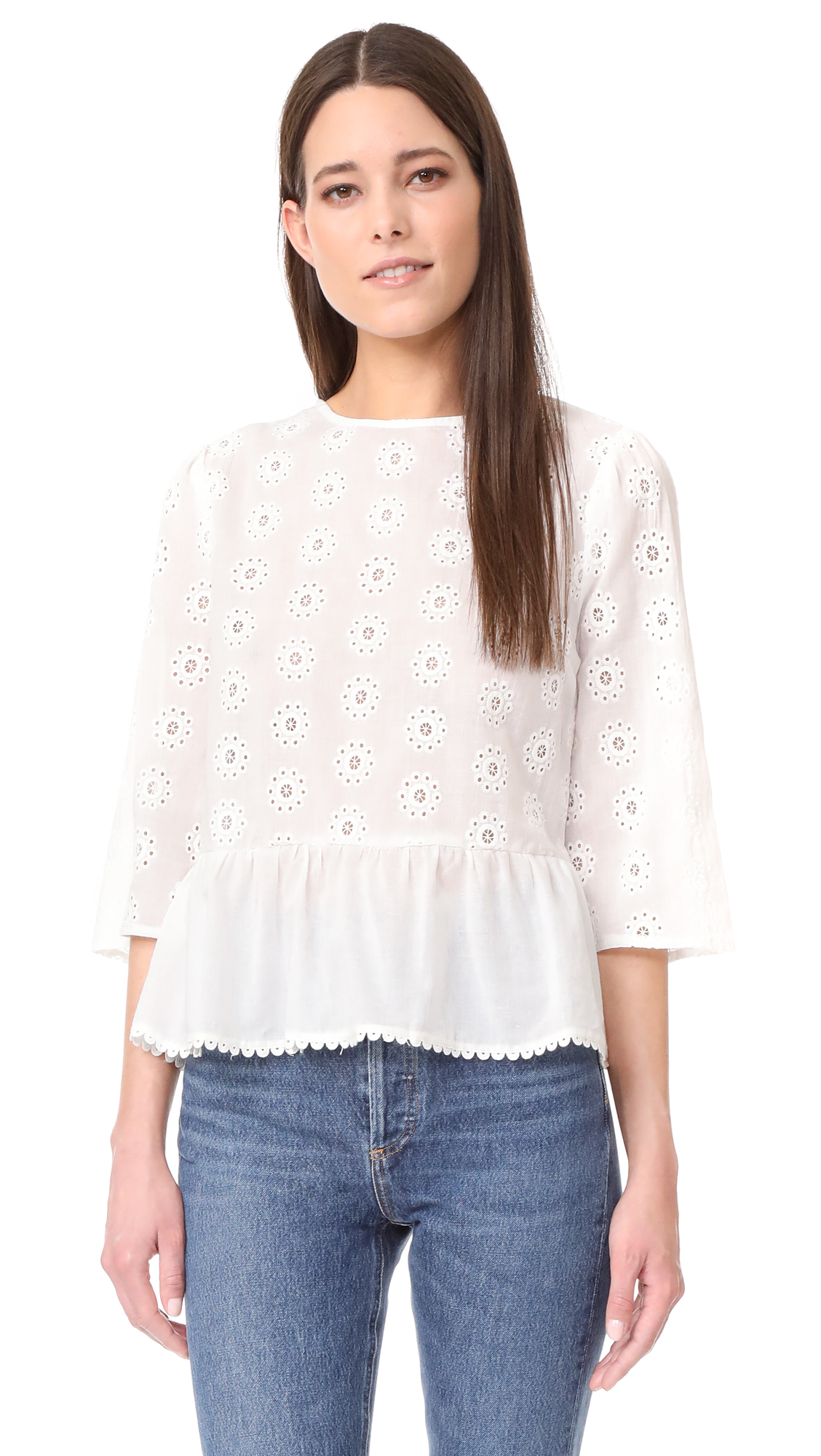ENGLISH FACTORY Bell Sleeve Eyelet Top - White