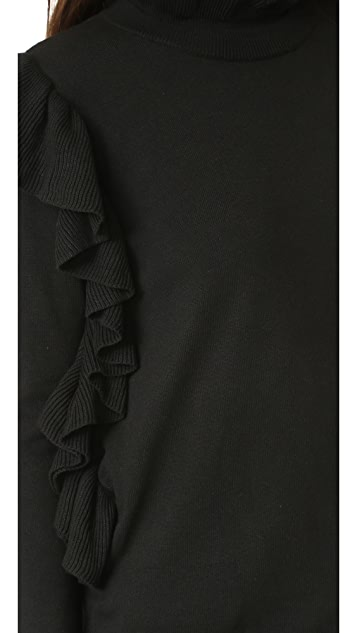 ENGLISH FACTORY Side Ribbed Ruffle Sweater