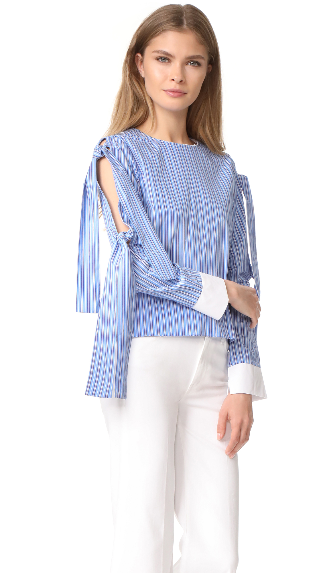 ENGLISH FACTORY Tie Sleeve Blouse - Sky Blue