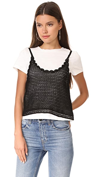 ENGLISH FACTORY Crochet Cami Tee - White/Black