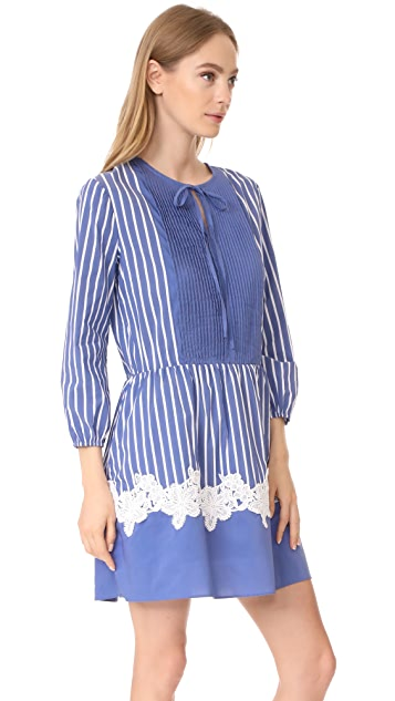 ENGLISH FACTORY Stripe Dress With Lace