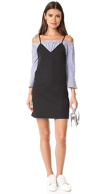 ENGLISH FACTORY Stripe Off Shoulder Combo Dress