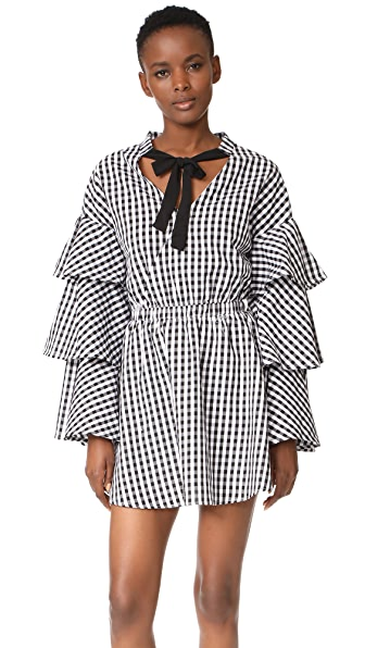 ENGLISH FACTORY Black and White Ruffle Plaid Dress - Black/White Plaid