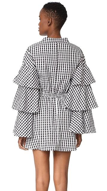 ENGLISH FACTORY Черно-белое платье в клетку с оборками