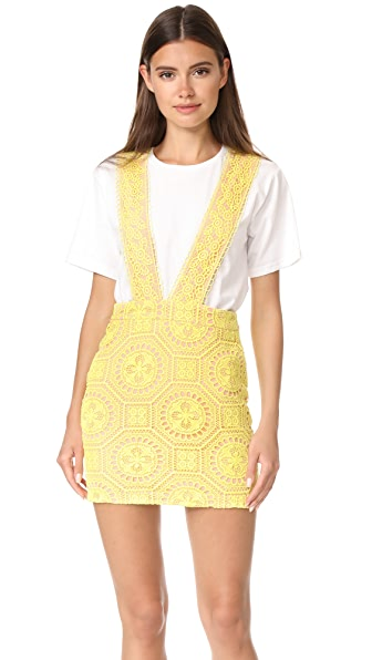 ENGLISH FACTORY Contrast Lace Pinafore Dress In Saffron
