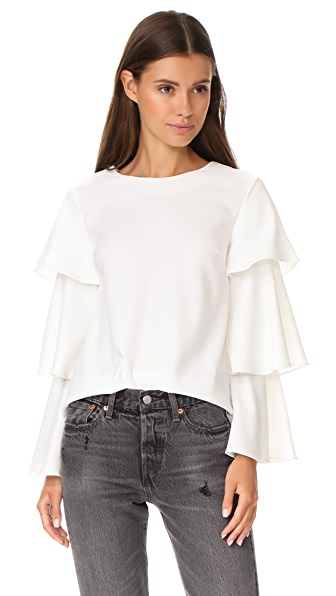 ENGLISH FACTORY Ruffle Accent Blouse In White