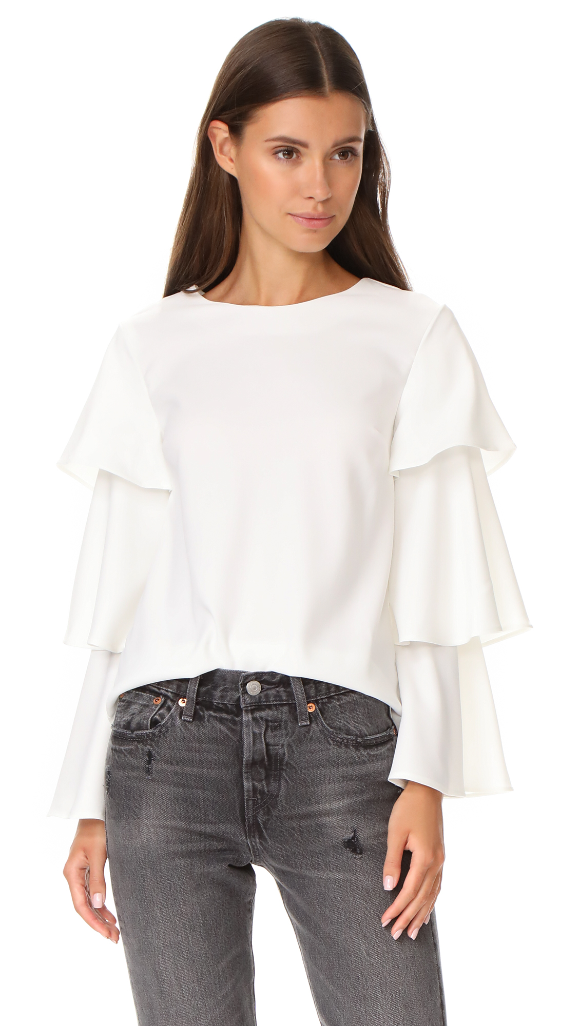 ENGLISH FACTORY Ruffle Accent Blouse - White
