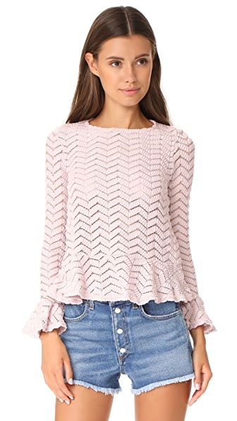 ENGLISH FACTORY Top With Ruffle Details In Antique Rose
