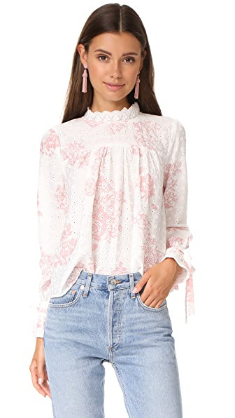 ENGLISH FACTORY Top With Tie Detail Sleeves - Antique Rose