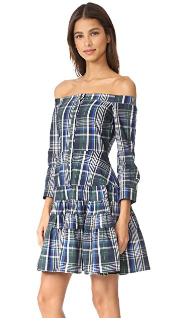 ENGLISH FACTORY Off Shoulder Plaid Ruffle Dress