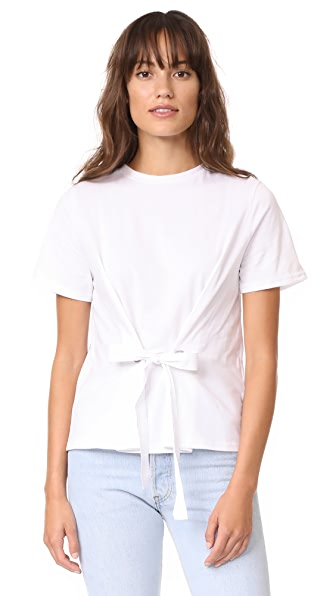 ENGLISH FACTORY Eyelet Tie Tee - White