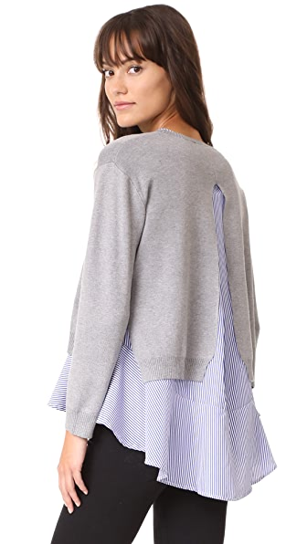 ENGLISH FACTORY Combo Flounce Sweater In Heather Grey/ Blue Stripe