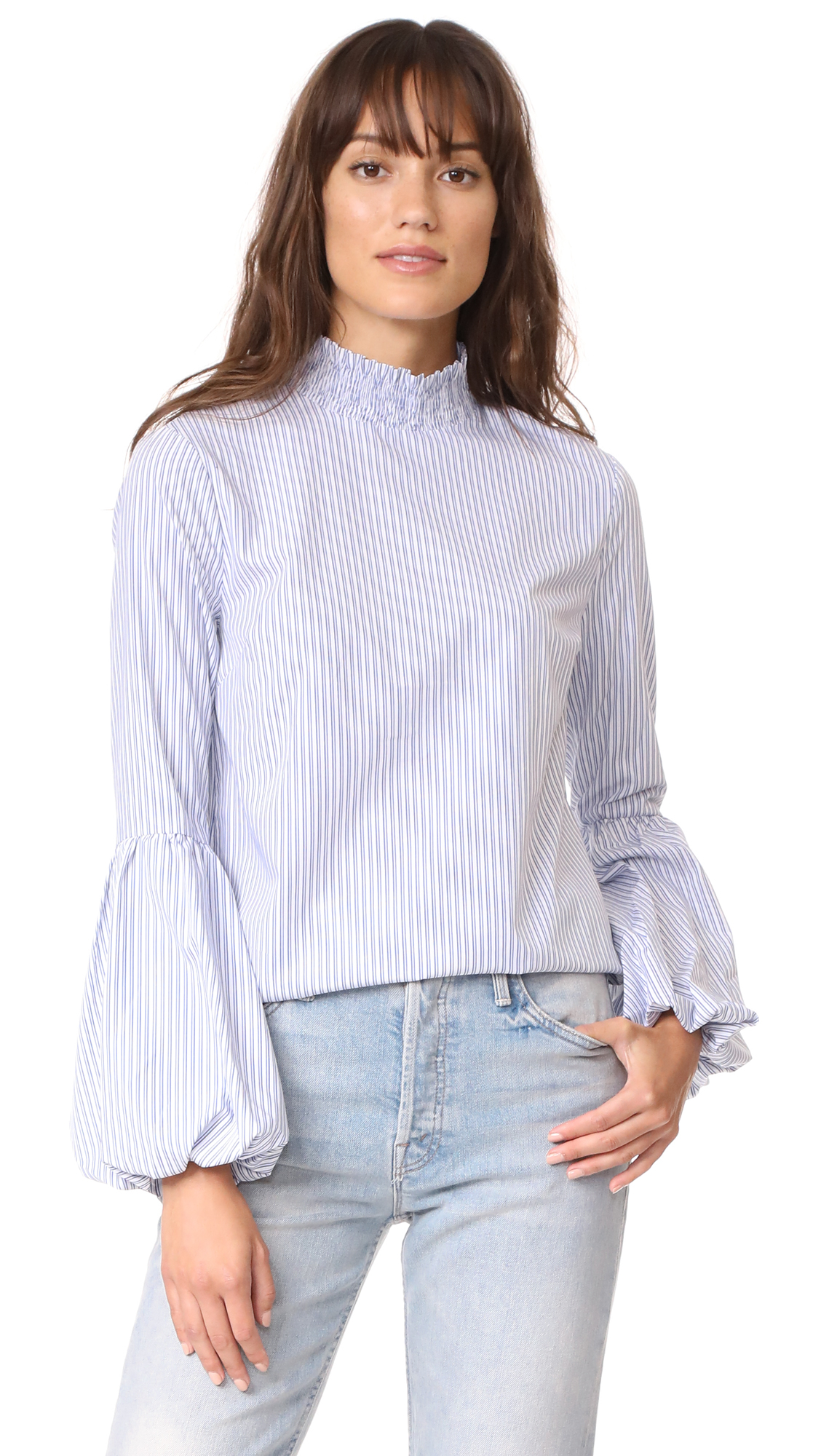 ENGLISH FACTORY Striped Balloon Blouse - Blue Stripe
