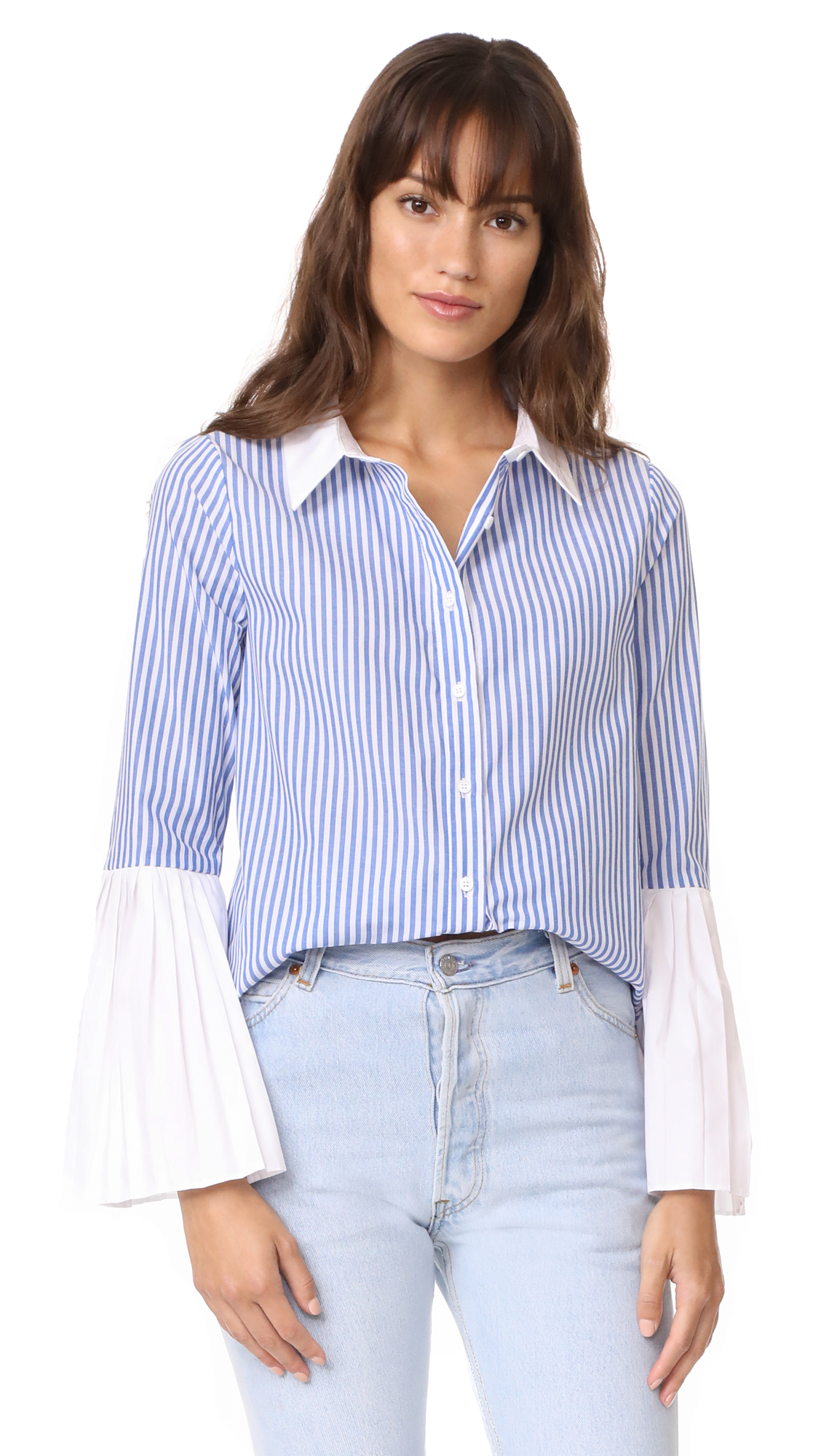 ENGLISH FACTORY Pleated Sleeve Blouse - Sapphire Stripe
