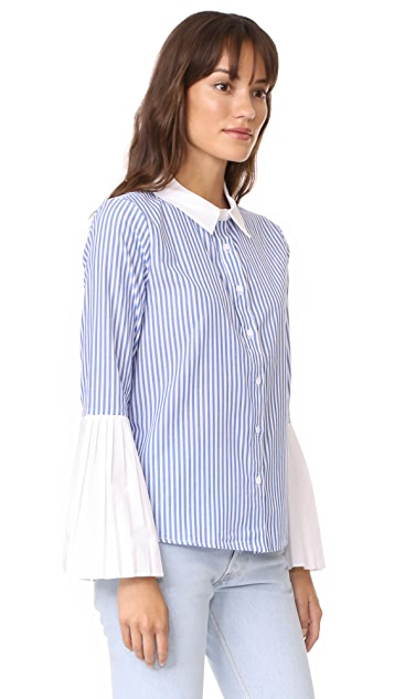 ENGLISH FACTORY Pleated Sleeve Blouse