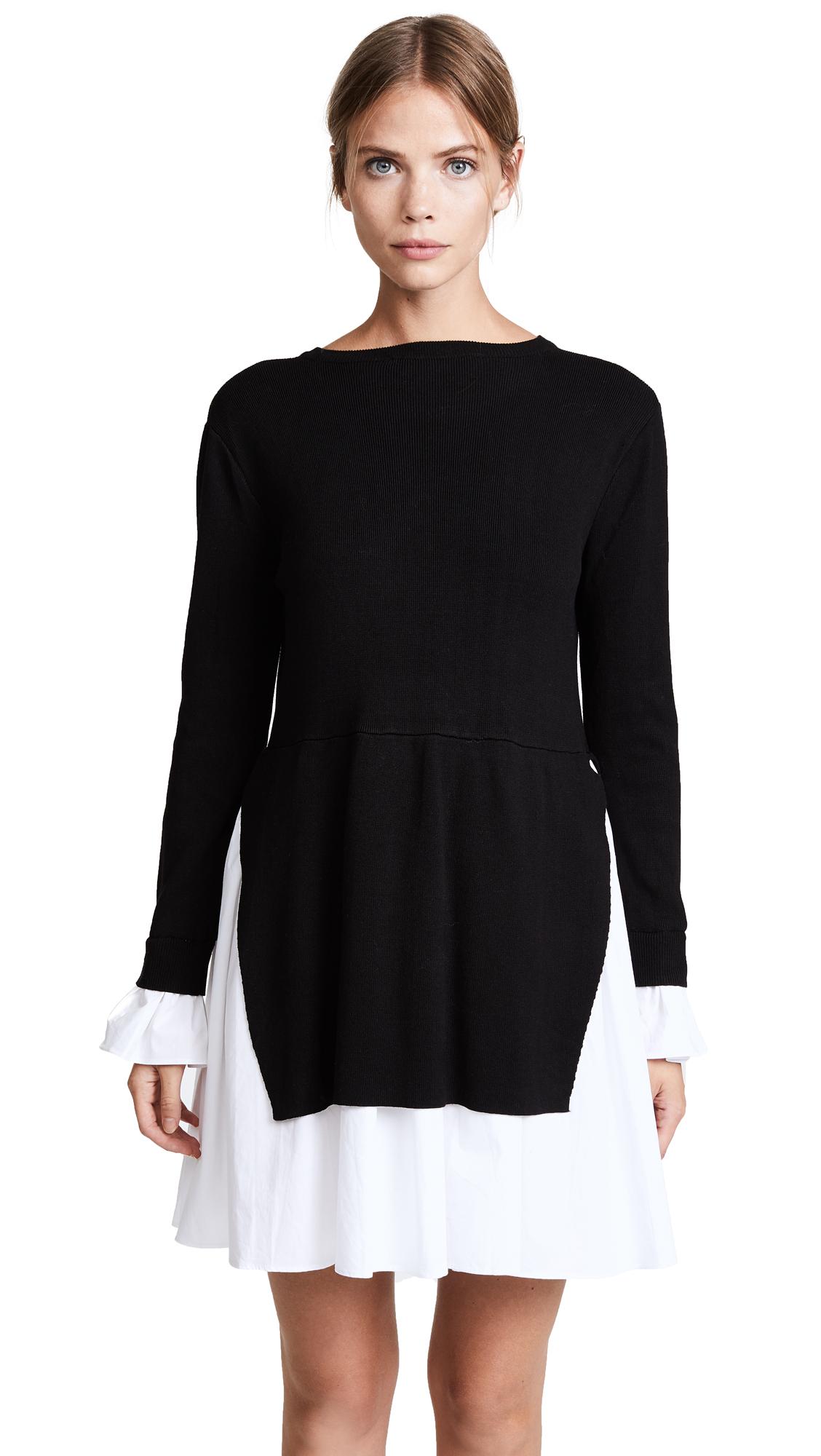 ENGLISH FACTORY Knit Combo Dress - Black