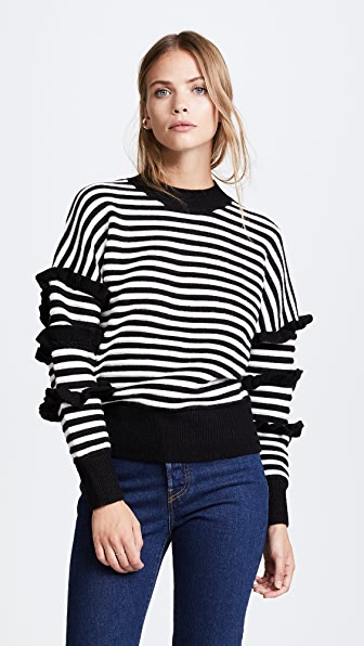 ENGLISH FACTORY Stripe Ruffle Sweater - Black