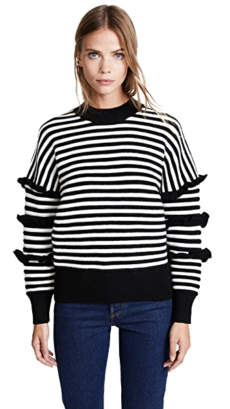 ENGLISH FACTORY Stripe Ruffle Sweater In Black
