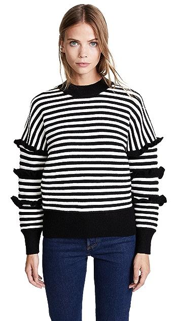 ENGLISH FACTORY Stripe Ruffle Sweater
