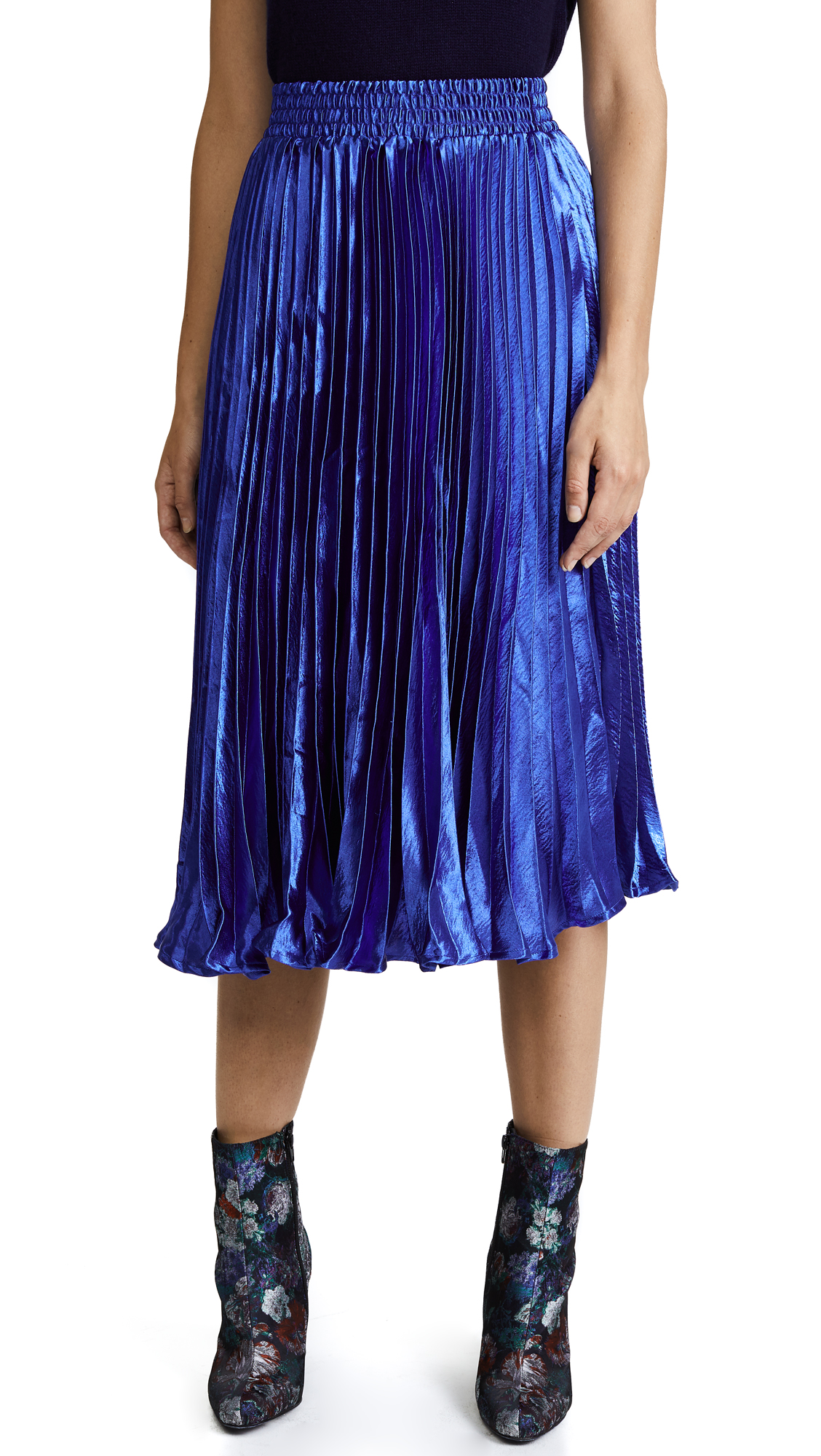 ENGLISH FACTORY Metallic Satin Pleated Skirt - Sapphire