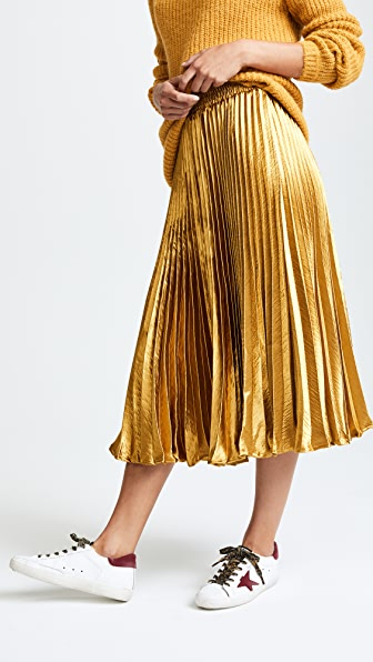 ENGLISH FACTORY Metallic Satin Pleated Skirt - Gold
