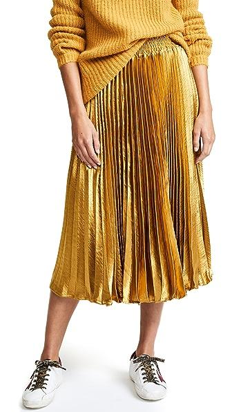 ENGLISH FACTORY Metallic Satin Pleated Skirt