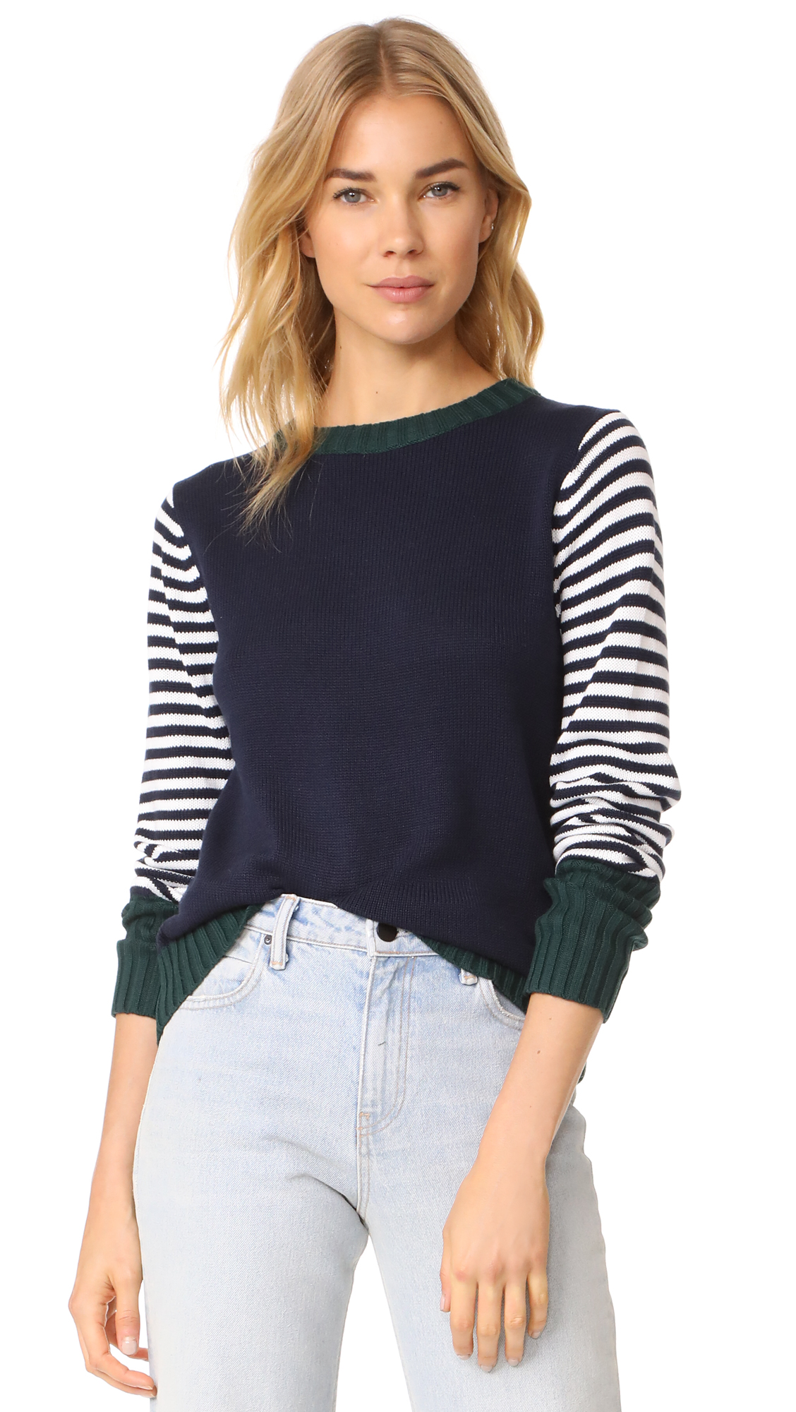 ENGLISH FACTORY Stripe Knit Sweater With Tie - Peacock Blue
