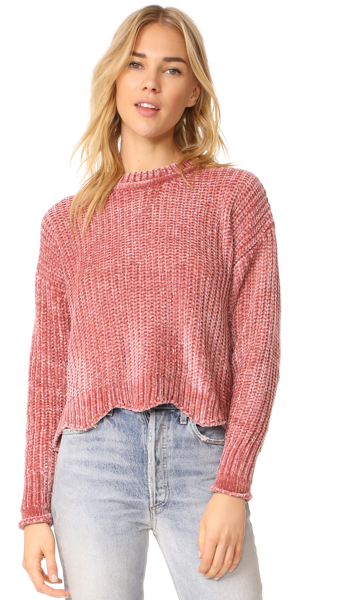 ENGLISH FACTORY Scallop Hem Knit Sweater - Nude Pink