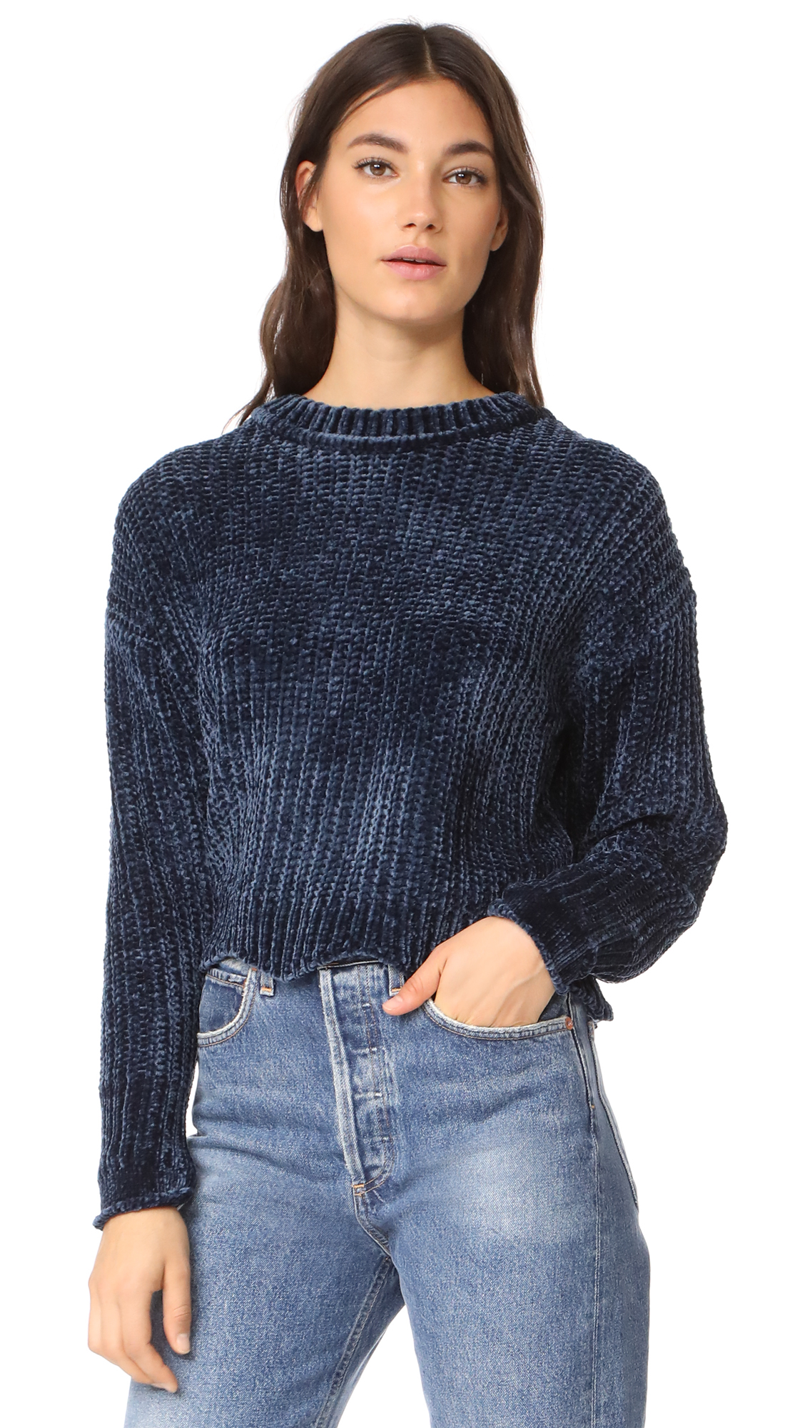 ENGLISH FACTORY Scallop Hem Knit Sweater - Dark Navy