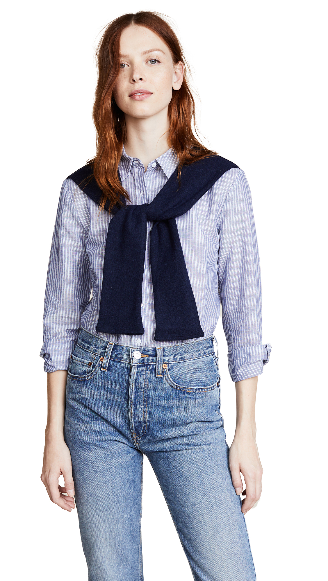 ENGLISH FACTORY Stripe Shirt with Knit - Blue/White