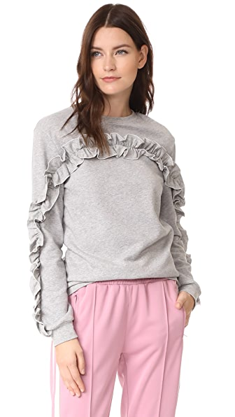 ENGLISH FACTORY Ruffle Detail Sweatshirt In Heather Grey