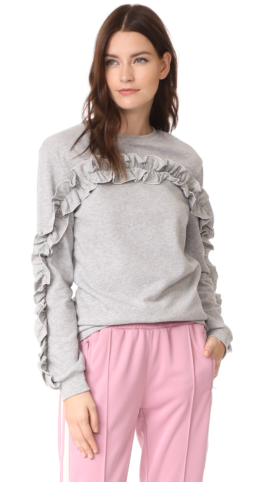 ENGLISH FACTORY Ruffle Detail Sweatshirt - Heather Grey