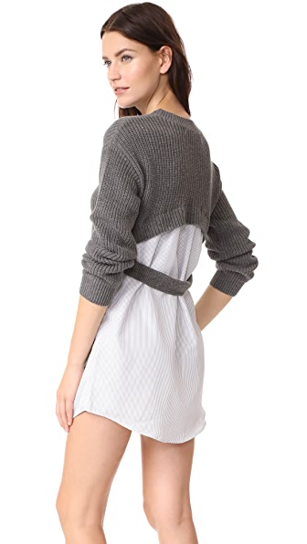 ENGLISH FACTORY Knit Dress With Combo Stripe In Heather Grey