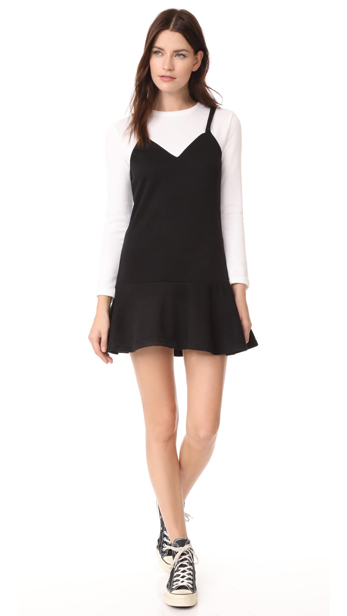 ENGLISH FACTORY Ruffle Hem Sweater Dress - Black/White