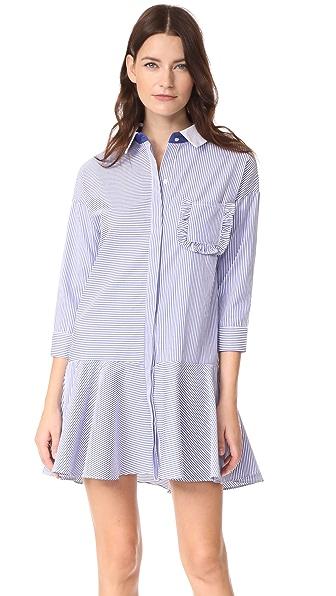 ENGLISH FACTORY Striped Drop Waist Shirtdress