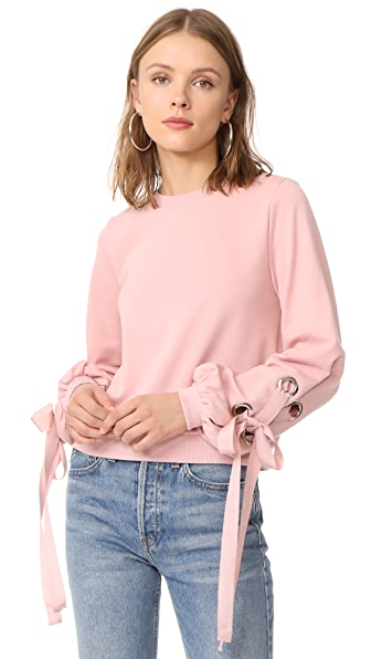 ENGLISH FACTORY Tied Up Sweatshirt In Blush