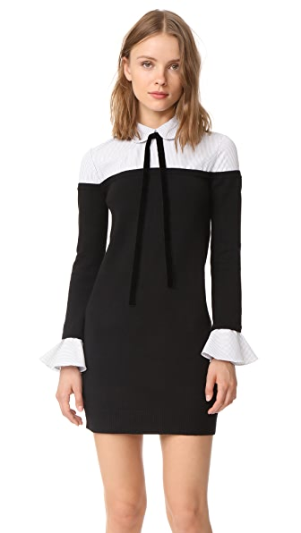 ENGLISH FACTORY Ruffle Combo Shirtdress - Black/Stripe