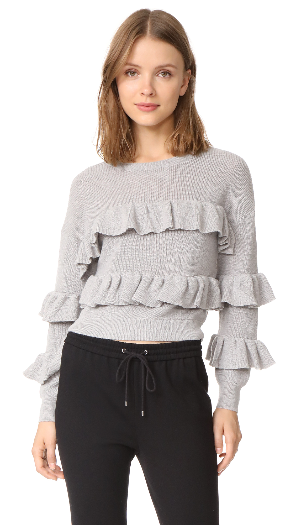 ENGLISH FACTORY Ruffle Sweater - Grey