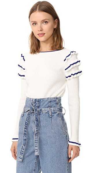 ENGLISH FACTORY Ruffle Sweater In Off White/Blue