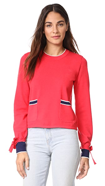 ENGLISH FACTORY Contrast Pocket Sweater In Red