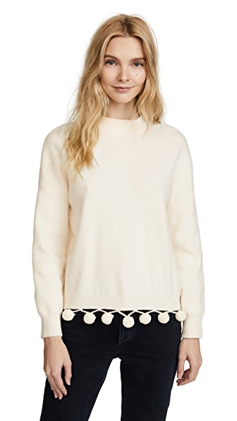 ENGLISH FACTORY Pom Pom Sweater In Ivory