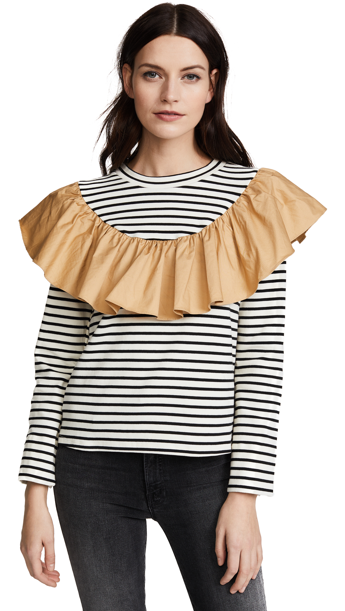 ENGLISH FACTORY Striped Top with Contrast Ruffle - Stripe/Dune