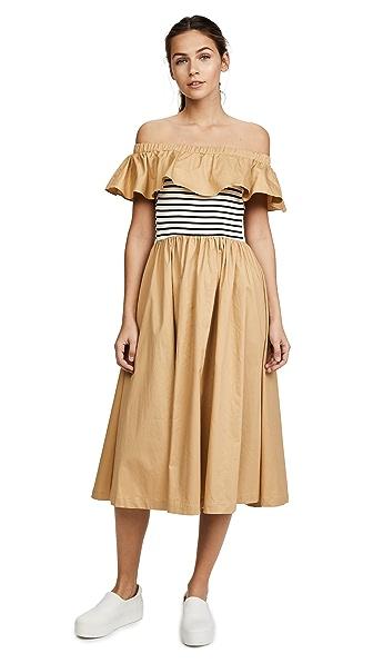 ENGLISH FACTORY Off Shoulder Ruffle Stripe Dress