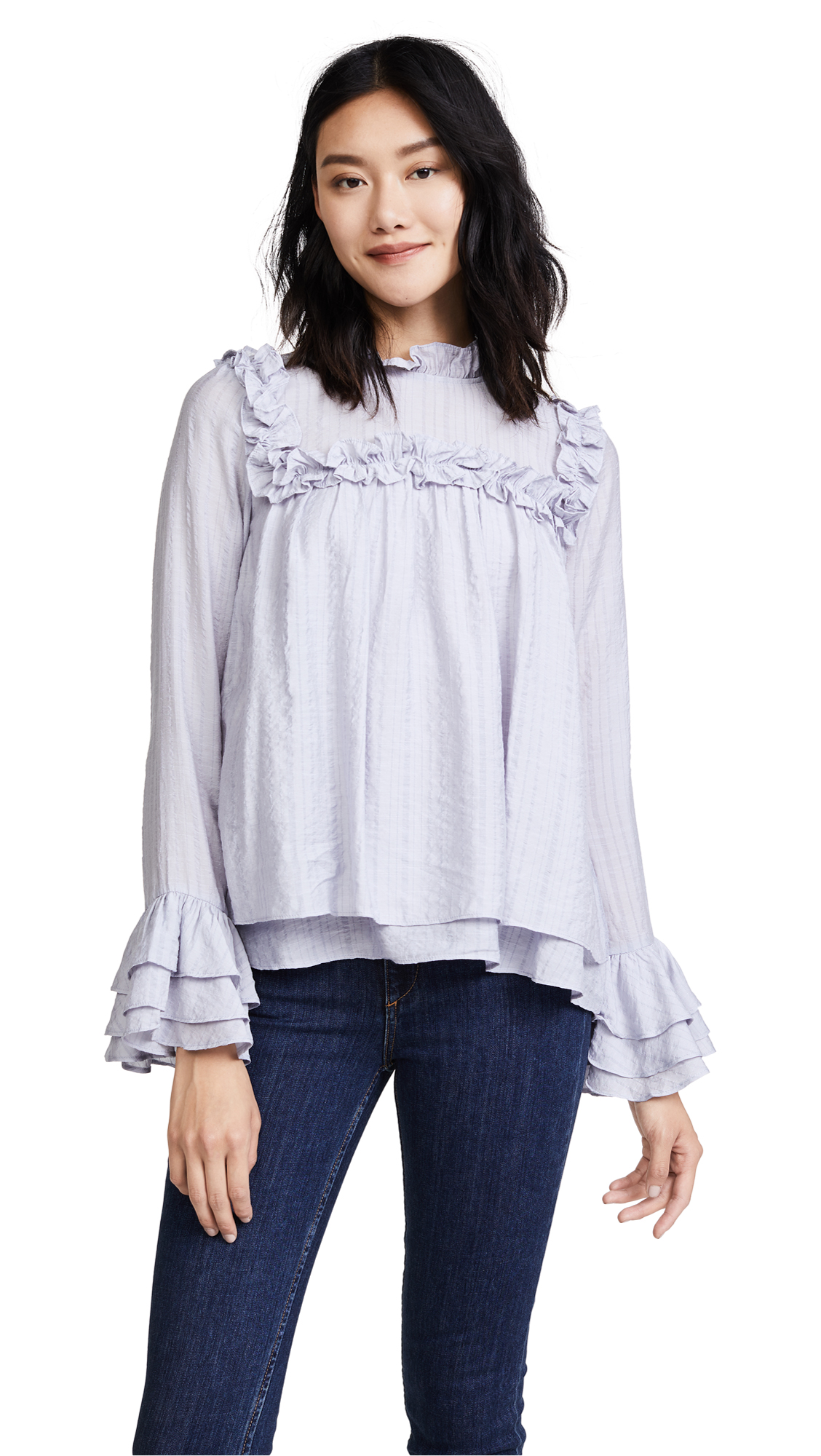 ENGLISH FACTORY Ruffled Blouse - Dusty Blue